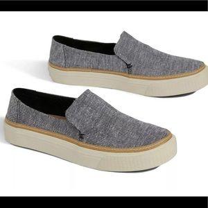 Toms Sunset Black Slub Chambray Slip on ShoesUS #7